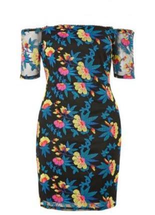 Крутое платье на плечи сеточка с вышивкой в цветочный принт 💐