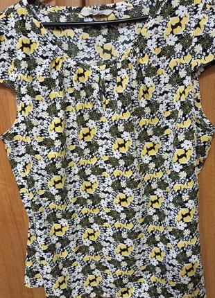 Шикарная тонкая блузка большого размера принт цветы