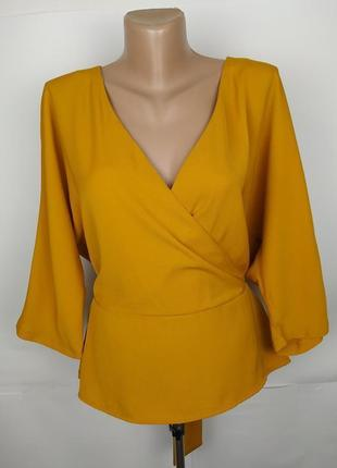 Блуза трендовая желтая с поясом на запах uk 14/42/l