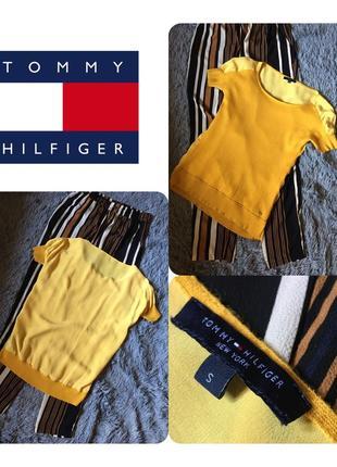 Блузка tommy hilfiger горчичного цвета комбинированная шерсть/шёлк