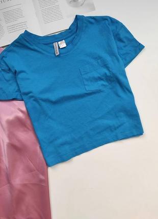 Вкорочена футболочка h&m блакитного кольору ❤