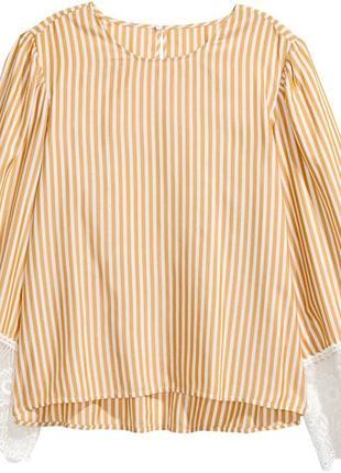 Стильная оригинальная блузка с кружевом h&m