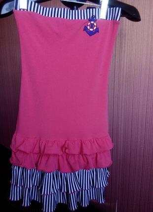 Летнее платьице-бюстье в морском стиле для девочки 10-12 лет