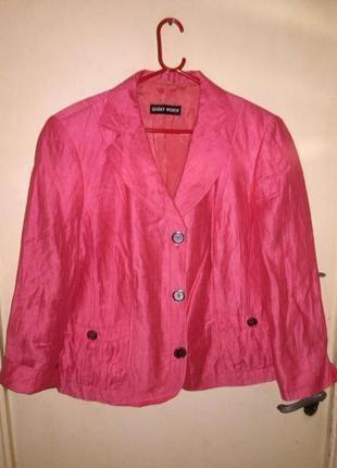 Льняной,укороченный,летний,жакет-пиджак,большого размера,сост.нового