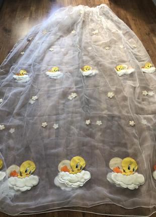 Тюль гардина белая с детскими аппликациями