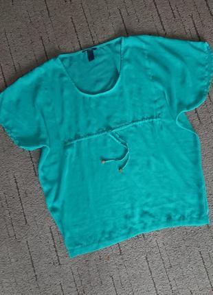 Воздушная блуза h&m, свободный фасон, красивый бирюзовый цвет, р.m-l