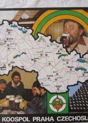 Плакат карта чешское пиво ретро 80-е ссср