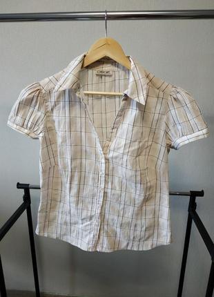 Светлая блуза в клеточку с коротким рукавом фонариком