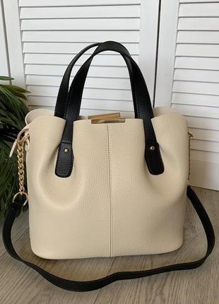 Женская сумка,бежевая,короткая ручка ,вместительная