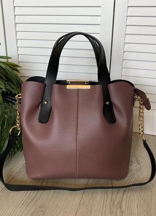 Женская сумка,темная пудра,короткие ручки,вместительная