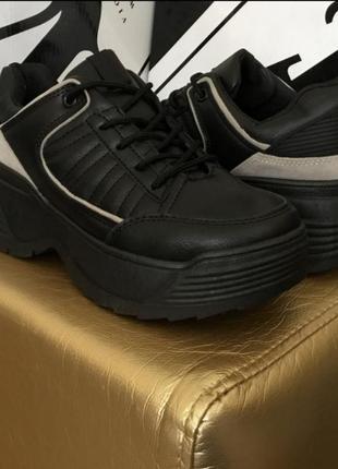 Черные кроссовки криперы кеды на высокой подошве ботинки2 фото