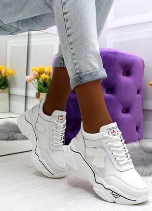 Модные кроссовки деми белого цвета натуральная кожа