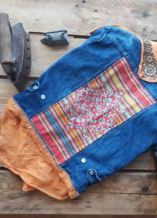 Трендовая джинсовая куртка, с этно рисунком. летняя куртка с вышивкой1 фото