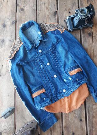 Трендовая джинсовая куртка, с этно рисунком. летняя куртка с вышивкой2 фото