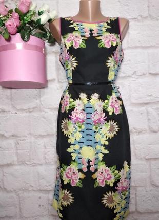 Платье миди коттоновое натуральное р 12 debenhams