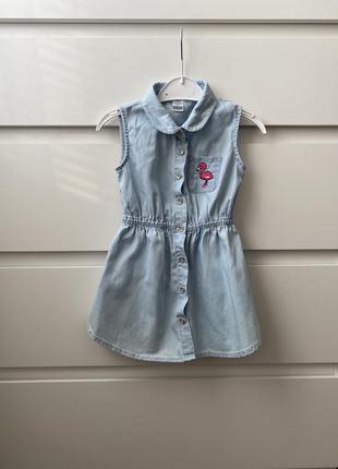 Платье на девочку, сарафан, джинсовое платье, котоновое поатье