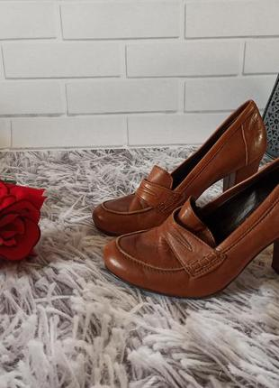 Туфли кожаные roberto santi brown, женские туфли кожаные коричневые