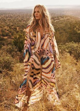 Воздушное платье, сочный африканский принт, асимметричное, миди, брендовый сарафан