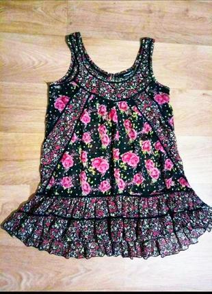 Красивая летняя туника /короткое платье цветочный принт