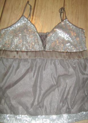 Стильная двойная майка-кофта из сеточки в пайетках. s-m, 44-46.
