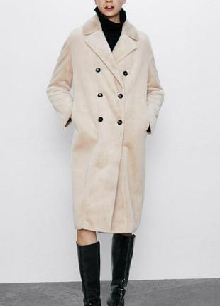 Пальто, шубка  zara  с отделкой из искусственного меха бежевого