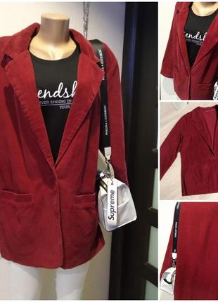 Лёгкий вельветовый пиджак жакет блейзер кардиган накидка кофта