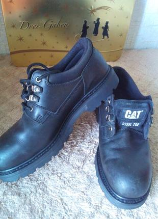 Ботинки caterpillar (cat) кожа сша 43р туфли  со стальным носком.