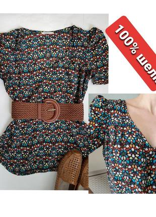 Шелковая блуза топ натуральный шелк мозаика bimba&lola барселона