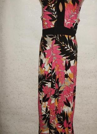 Новое трикотажное длинное платье в принт 16/50-52 размера