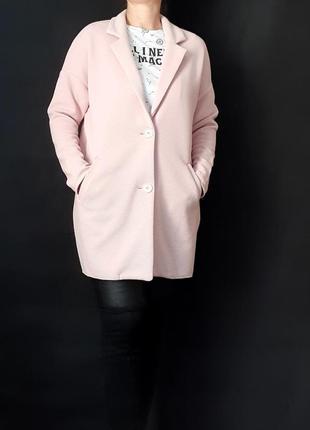Легкое пальто нежно-розовое оверсайз разм с-м amisu