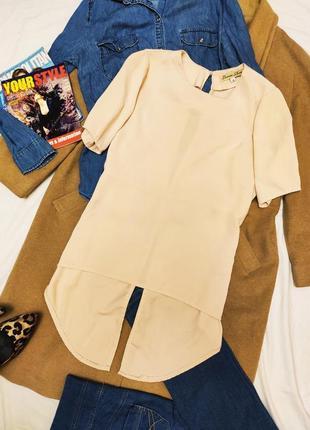 Cameo rose блуза блузка рубашка шифоновая бежевая персик с открытой спиной удлинённая