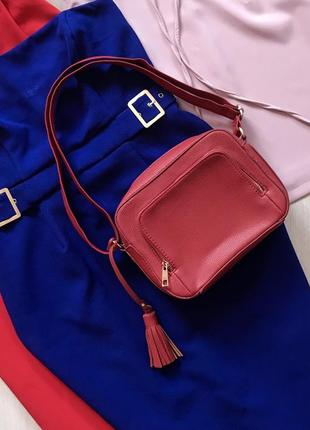 Красная кожаная сумка/сумочка