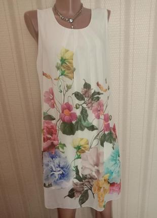Итальянское белое платье в живые цветы