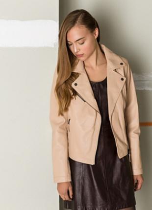 Новая куртка косуха из премиум кожи oakwood, францияпудранюд кожанка