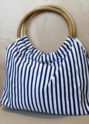Полосатая сумка/ маленькая сумочка/ бамбуковые ручки / бамбук/ летняя пляжная сумка