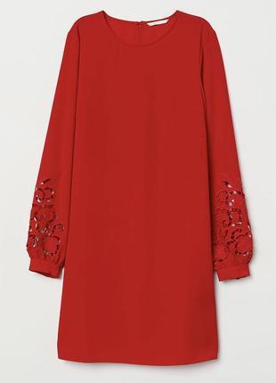 H&m шикарное алое платье с шитьем