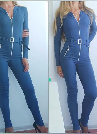Классный джинсовый комбинезон, р. xs