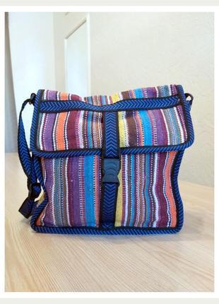 Тканевая сумка через плечо полоска сиреневая