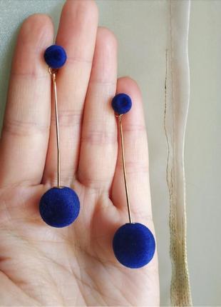 Серьги синие плюш трасформеры сережки