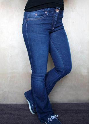 Джинсы клёш/ расклешенные джинсы / синие низкие джинсы /стрейчевые джинсы