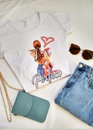 Sale!!! женская футболка, белая, принт. супер качество 100% cotton