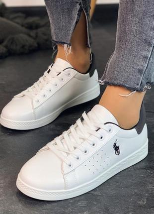 Белые кеды в стиле поло/бренд бабочка
