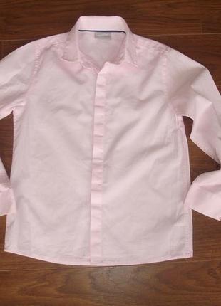 Фирменная next нежно розовая рубашка мальчику 6-7 лет в идеале
