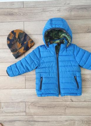 Бомбезная двухсторонняя куртка gap+шапка!!!