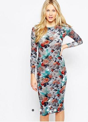 Облегающее платье миди с цветочным принтом   glamorous (размер 12)
