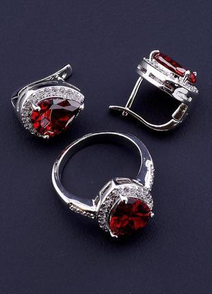 Комплект украшений  с родиевым покрытием  фианиты серьги и кольцо