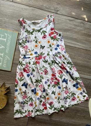 Платье в цветочки h&m 6-8л