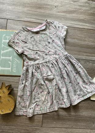 Платье с зайками f&f 3-4г