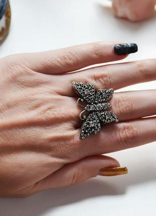 Роскошное кольцо бабочка с кристаллами gucci размер 18
