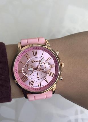 Силиконовые женские наручные нежно розовые часы geneva женева летние